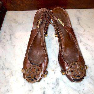 Tory Burch Brown logo heels